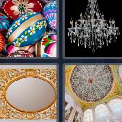 4 fotos 1 palabra huevos de colores lámpara de cristal