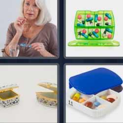 4 fotos 1 palabra pastillas mujer con medicinas