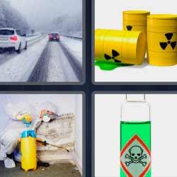 4 fotos 1 palabra carretera nevada barriles amarillos líquido verde