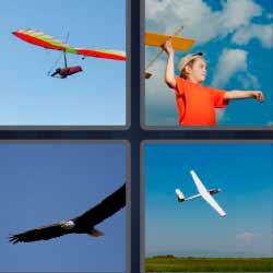 4 fotos 1 palabra avioneta, niño con avión de juguete, águila