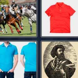 4 fotos 1 palabra caballos camiseta roja