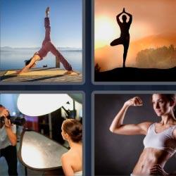 4 fotos 1 palabra mujer haciendo yoga