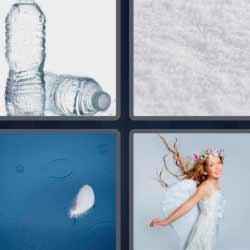 4 fotos 1 palabra botellas de agua pluma