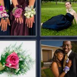 4 fotos 1 palabra mujeres con pulseras de flores, ramillete