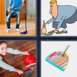 4 fotos 1 palabra escoba y recogedor, mujer limpiando