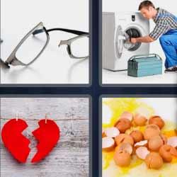 4 fotos 1 palabra lentes lavadora corazón