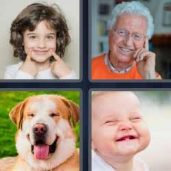 4 fotos 1 palabra niña anciano perro y bebé sonriendo