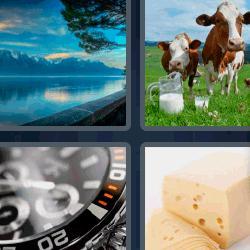 4 fotos 1 palabra vacas queso reloj