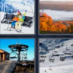 4 fotos 1 palabra telesilla montaña esquís