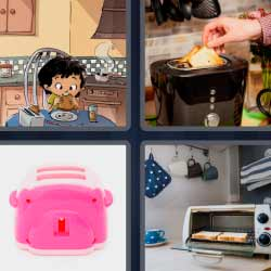 4 fotos 1 palabra tostadora de color rosa