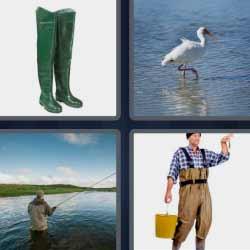 4 fotos 1 palabra botas de pesca