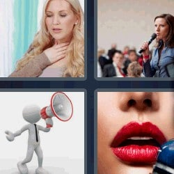 4 fotos 1 palabra megáfono, mujer con micrófono
